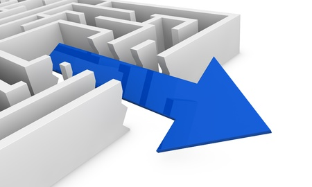 one way: one maze with an arrow that goes out not following the right way (3d render) Stock Photo