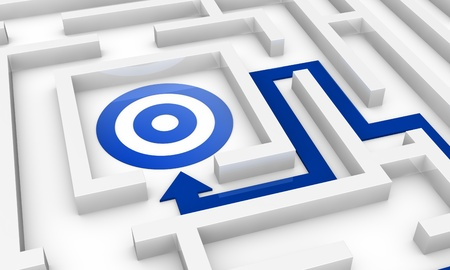 one maze with an arrow pointing to the centre where there is a target (3d render) photo