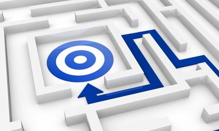 une labyrinthe avec une flèche pointant vers le centre où il ya une cible (3d render) Banque d'images