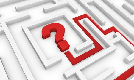 one maze with an arrow pointing to the centre where there is a question mark (3d render) photo