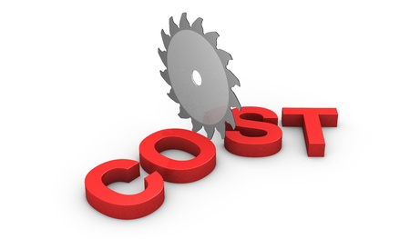 price cut: a saw disk that cuts the word: cost (3d render)