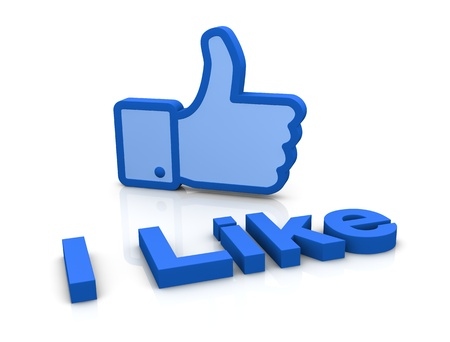 like button: the typical thumb up of social networks (3d render)