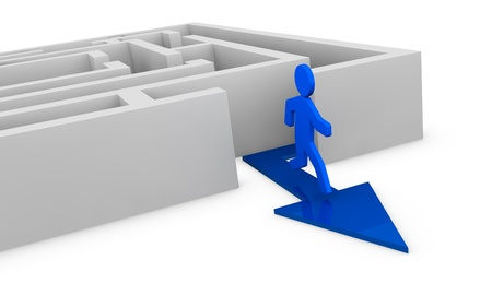 one maze with a cartoon man that goes out (3d render) Stock Photo - 11097979