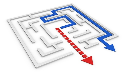 way out: one maze with a red arrow that goes out not following the right way and a blue arrow that follows the right path (3d render) Stock Photo