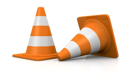 two typical traffic cones, symbol of work in progress (3d render)