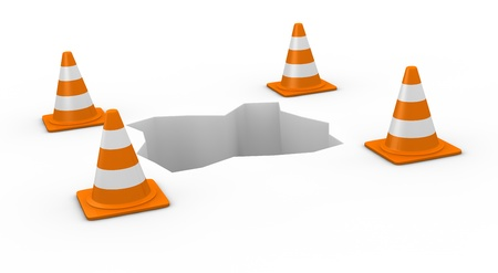 financial obstacle: one hole with traffic cones (3d render) Stock Photo