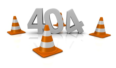 computer error 404 with traffic cones around the number (3d render) photo