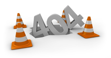 computer error 404 with traffic cones around the number (3d render) Stock Photo - 11098037