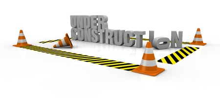 traffic cones with yellow and black lines and the words: under construction (3d render) photo