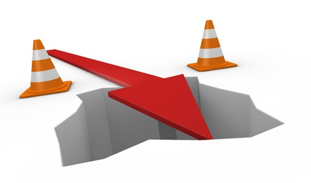 financial obstacle: one hole with traffic cones and an arrow falling into it (3d render)