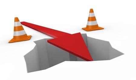 perdidas y ganancias: un agujero con conos de tráfico y una flecha que cae en él (3d)