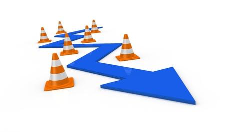 symbols metaphors: one arrow that passes between traffic cones (3d render) Stock Photo