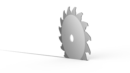 a saw disk that cuts the floor (3d render) photo