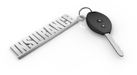 car protection: one key of a car with a keychain made with the word: insurance (3d render)