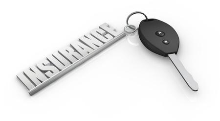 property insurance: una llave de un coche con un llavero hecho con la palabra: el seguro (3d)