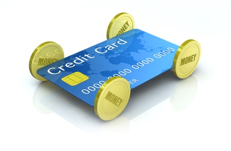 one car made with a credit card and four coins (3d render) photo
