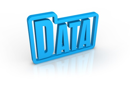 stylized folder icon with the word: data, inside it (3d render) photo