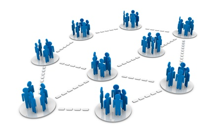 social system: groups of people cartoon connected each other (3d render)