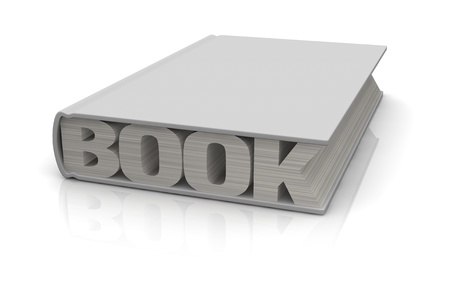copy space: one book with the word: book, instead of pages (3d render)
