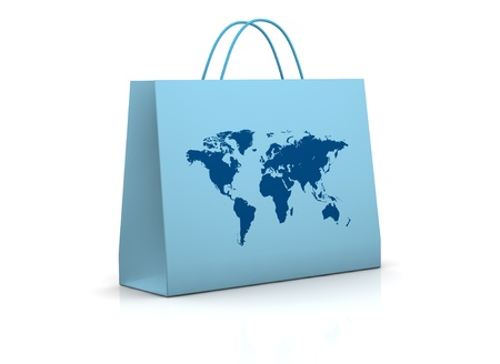 mapped: one shopping bag mapped with the world map (3d render) Stock Photo