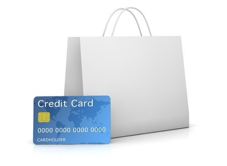 one shopping bag with a credit card in front of it (3d render) photo