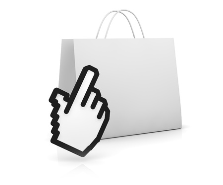 one shopping bag with the hand cursor (3d render) Stock Photo - 11092589