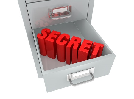 one file drawer with the word: secret, on an open drawer (3d render) Stock Photo - 11098018