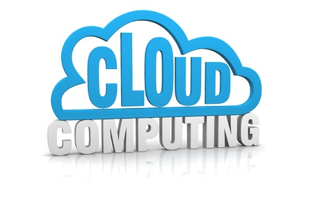 cloud computing services: one stylized cloud with the words: cloud computing (3d render)