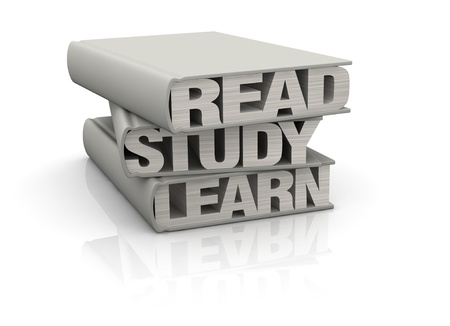 instead: three books with the words: read, study, learn instead of pages (render 3d) Stock Photo