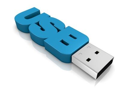 une clé USB fait avec le mot: usb (rendu 3D)