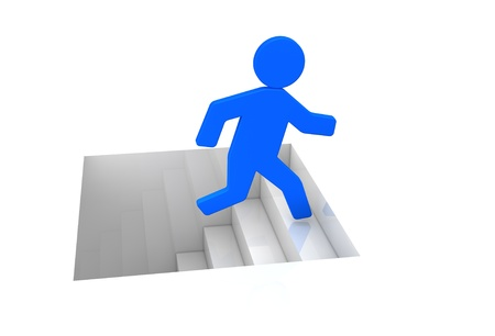 one cartoon man that climbs a stair (3d render) Stock Photo - 11092594