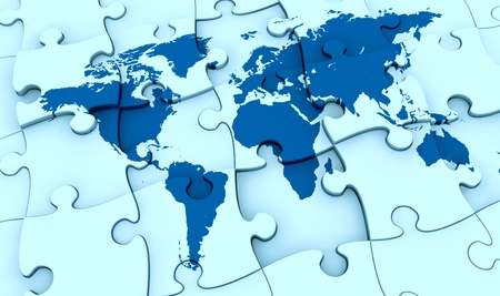 one puzzle made with the world map. the pieces are not all in the right position, concept of problem (3d render) photo