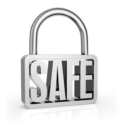 secure: one stylized padlock with the word: safe, into it (3d render) Stock Photo