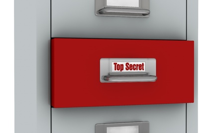 secret information: one file drawer with the words: top secret, written on the label of a red drawer (3d render)