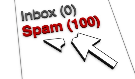 inbox: close up view of a typical email client showing a lot of incoming spam (3d render) Stock Photo