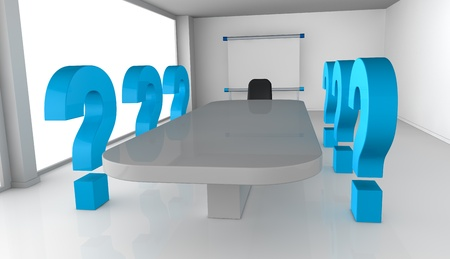 collaborators: one office room with question marks, concept of new or unknown collaborators (3d render)