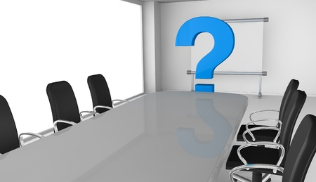 new business problems: one office room with question marks, concept of new or unknown collaborators (3d render)