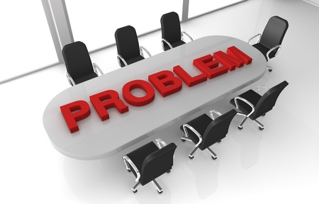 one office room with the word: problem, over the table (3d render) Stock Photo - 11146115