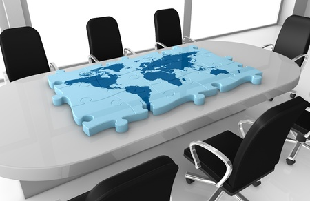 world economy: one office room with a world map made with puzzle pieces on the table (3d render)