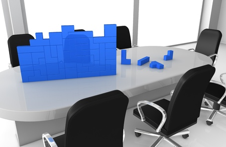 one office room with brick pieces that build something (3d render) Stock Photo - 11146125