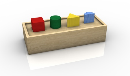 one vintage toy with colored bricks (3d render) photo
