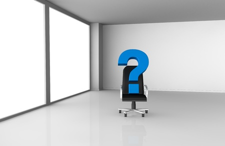 one office room with question marks, concept of new or unknown collaborators (3d render) Stock Photo - 11146103