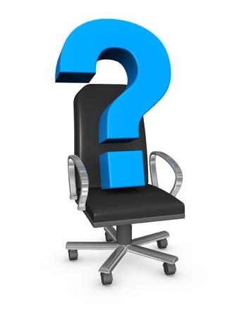 new recruit: una oficina sill�n con un signo de interrogaci�n sobre ella, el concepto del nuevo l�der (3d)