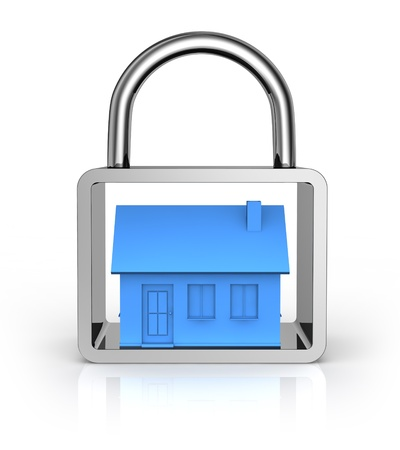 alarm system: one house into a padlock (3d render)