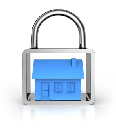 alarme securite: une maison dans un cadenas (3d render)