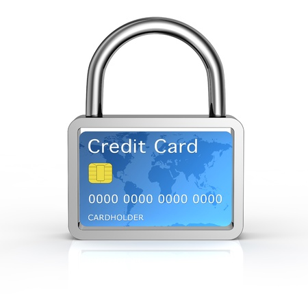 online safety: credit card into a padlock (3d render)