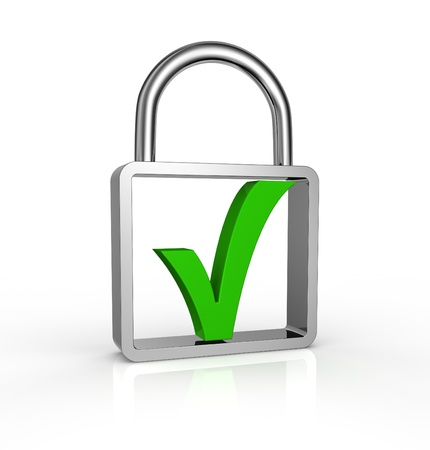 one green check into a padlock (3d render) Stock Photo - 11146084