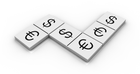 currency exchange: domino pieces with currencies symbols instead of numbers (3d render)