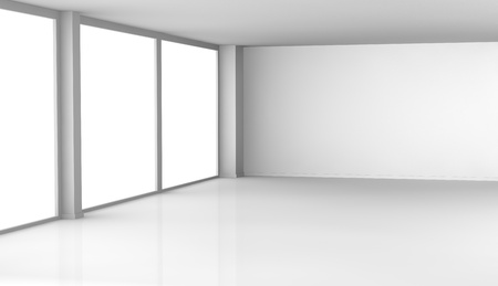 one empty room with big windows (3d render) Stock Photo - 11146122
