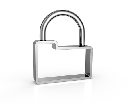 one stylized padlock made with a computer folder, concept of protecting data (3d render) photo